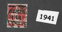 #1941 1.25 Mark  Used stamp 1922 Memel Lithuania / Prussia / Third Reich Germany