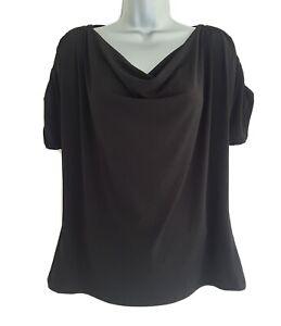 ANNE KLEIN Ladies Black Short Sleeve Button Detail Cowl Neck Top. Large/UK 14.