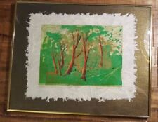 "Limited Edition YANKEL GINZBURG Japanese Rice Paper Wood-cut - ""WILD TREES"""