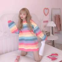 Kawaii Clothing Long Sleeved T-Shirt Rainbow Pastel Goth Harajuku Ulzzang Pink