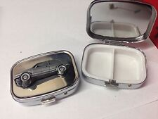Bond Equipe 2Lt Saloon ref30 pewter effect car emblem on silver metal pill box