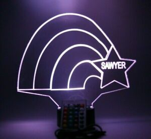 Rainbow Star Night Light Up Table Lamp LED Personalized Free Engrave With Remote