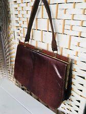 40s 50s vintage brown snakeskin kelly bag evening bag