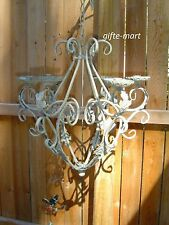 ivory distressed vintage iron scroll hanging Chandelier outdoor Candle Holder L