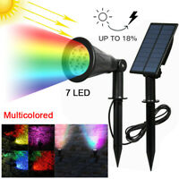 7 LED Solar Powered Spot Lights Garden Light Outdoor Waterproof Yard Path Lamp