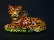 NOS Blown Glass Resting Tiger Xmas Tree Ornament Safari Cat Laying Jungle Tigger