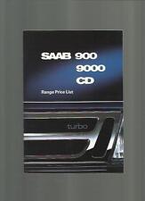 SAAB 900, 9000, CD intervalli LISTINO opuscolo 1989