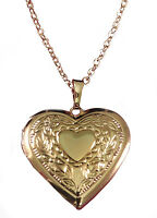 Ladies engraved personalised 18k gold plated heart locket necklace & gift box V5