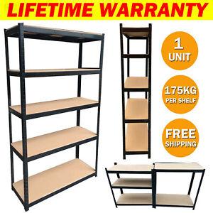 5 Tier Shelving Rack Metal Shelves Garage Home Storage Warehouse Bay Heavy Duty