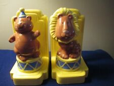 Book Ends Bear and Lion Ceramic Bookends Circus