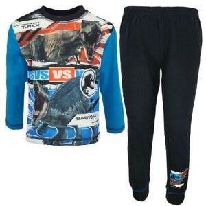 Jurassic World Boys Pyjamas Kids Nightwear PJs Long Sleeve Raptor T-Rex Blue