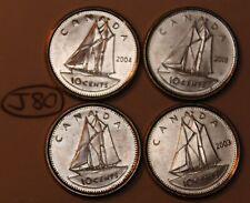 Canada 2001 P, 2002 P, 2003 P New Effigy, 2004 P 10 cents Canadian Dime Lot #J80