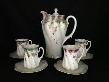 Marked RS Prussia Lily of Valley Chocolate Pot Demitasse cup Saucer Set ~perfect