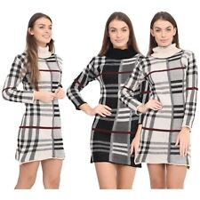 New Ladies Knitted Tartan Check Print Polo Neck Long Sleeve Jumper Dress Top