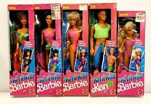 Vintage 1989 Wet'n Wild Barbie, Ken, Teresa, Kira, & Skipper New NRFB