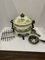 Vintage ASTA Cookware Enamelware Saucepan Floral Warmer set with accessories