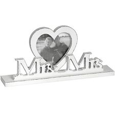 Mr and Mrs  Shabby Chic Photo Frame with Heart Shaped Photo Frame