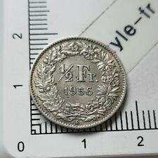 H08203 pièce de monnaie argent 1 demi franc suisse 1956