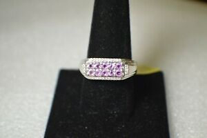1.05ct Madagascar Purple Sapphire / Zircon Ring Platinum over Fine Silver Sz 10