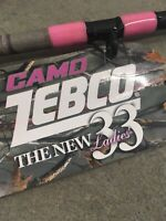 2 New Zebco 33 Camo Casting 6' Rods Medium Action Pink Lady 2pc Pistol Grip LE