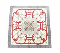 Auth HERMES Carre Scarf 90 cm eperon d'or 100% Silk France Gray/white/red xz135