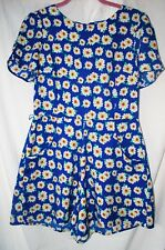 Oasis Blue Daisy Floral Playsuit Size10 Short Sleeves