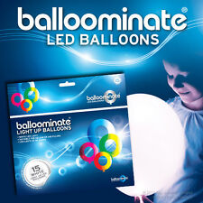 White - 15 pack. White LED Light Up Balloominate Balloons - All Occasions