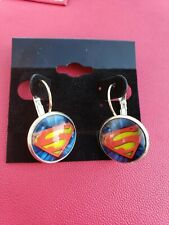 SUPERMAN  12mm round glass dome Earrings gift jewelry for women superhero