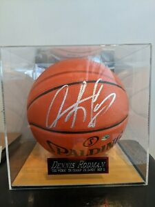 DENNIS RODMAN Signed Basketball WITH CASE and nameplate Autographed COA BULLS