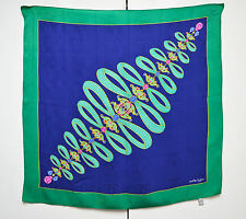 Must De Cartier Bufanda De Seda Joyas Jacquard Diseñador Vintage Verde Azul Foulard