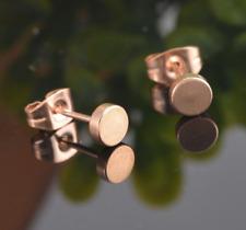 Neue Edelstahl Ohrstecker Ohrringe rosegold runde Damen Herren Ohrschmuck