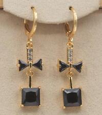 "18K Gold Filled - 1.5"" Square Bowknot Black Onyx Gemstone Wedding Women Earrings"