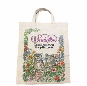Vintage German Cotton Canvas Feed Sack Tote Bag SEIDAFLOR Kittens Dinosaurs