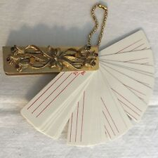 Vintage Jeweled Miniature Address book Gold Colored Blank Pages Fan Keychain