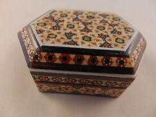 Khatam Jewelry Trinket Gift Box Persian Wooden Handcraft Inlaid Marquetry Art