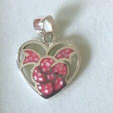 PINK SHELL - HEART WITH FLOWER PENDANT STERLING SILVER