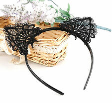 BLACK LACE CAT EARS HEADBAND Festival Hairband Birthday Party Hair Fancy Dress