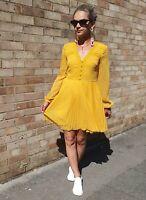 Zara Polka Dot Flowing Mustard Yellow Dress Long Sleeve Plumetis SIZE S UK 8