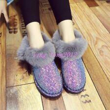 European Sequins Womens Warm Shoes Glitter Fur Trim Furry Casual Snow Ankle Boot