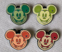 Lot of 4 Disney Trading Pins 2008 Hidden Mickey Mouse Heads Colorful WDW DLR
