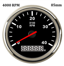 85mm Waterproof Marine Tachometer Boat Gauge Car Digital LED Hourmeter 4000RPM
