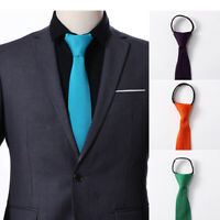 Fashion Men's Solid Color Skinny Tie Knitted Woven Wedding Party Zipper Necktie