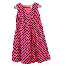 Motherhood Maternity Small V- Neck Dress Pink S Blue Stripe Empire Waist Cotton