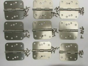 "Set of 9 EXTERIOR SECURITY DOOR HINGES Satin Nickel 4""x2"" (+5/8"" Radius Screws)"