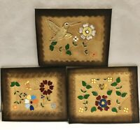 Leather Tooled Artwork Wall Hanging Flowers And Hummingbird Hand Painted Squares