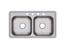 New listing Dayton Stainless Steel Double-Basin Sink Residential Kitchen 33 x 19 4-Hole