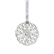 Wedgwood Silver Filigree Snowflake Ornament New In The Box