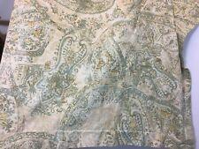 Pottery Barn Euro Pillow Sham Blue tan block print linen blend