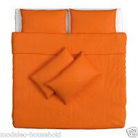 IKEA DVALA Single Double King Duvet Quilt Pillow Cover Bed Set Plain orange-B788