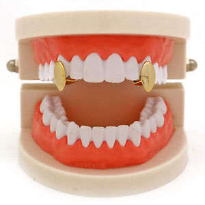 2 PC 3 Color Plated Vampire Dracula Single Metal Fang Grillz Set with Grills